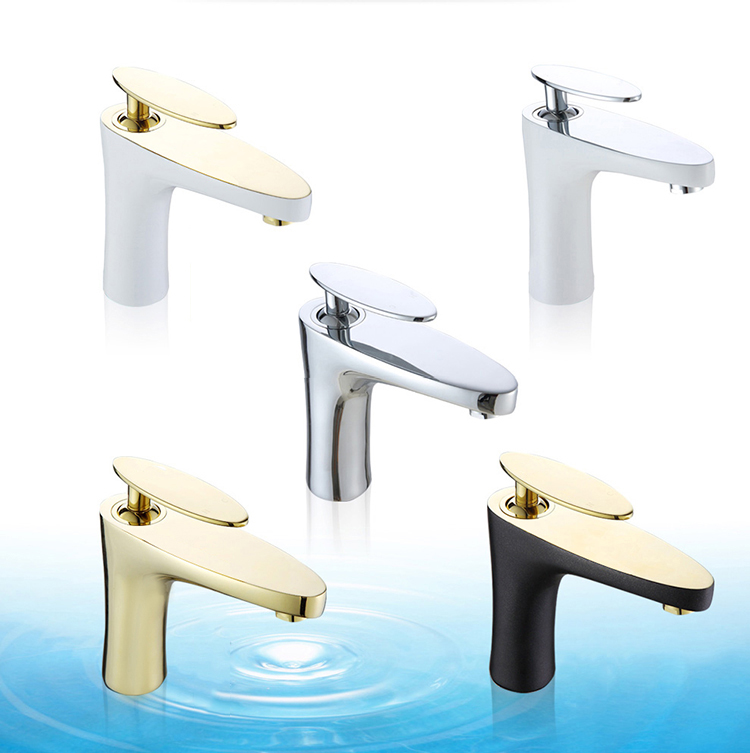 Deck mounted bathroom paint gold basin mixer with hot and cold water for Gold and chrome bathroom faucets