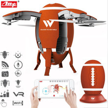 Attop W5 2.4GHz Foldable Flying Egg Drone WIFI FPV Foldable Selfie Drone RC Quadcopter with 0.3MP Camera Altitude Hold 3D Flips(China)