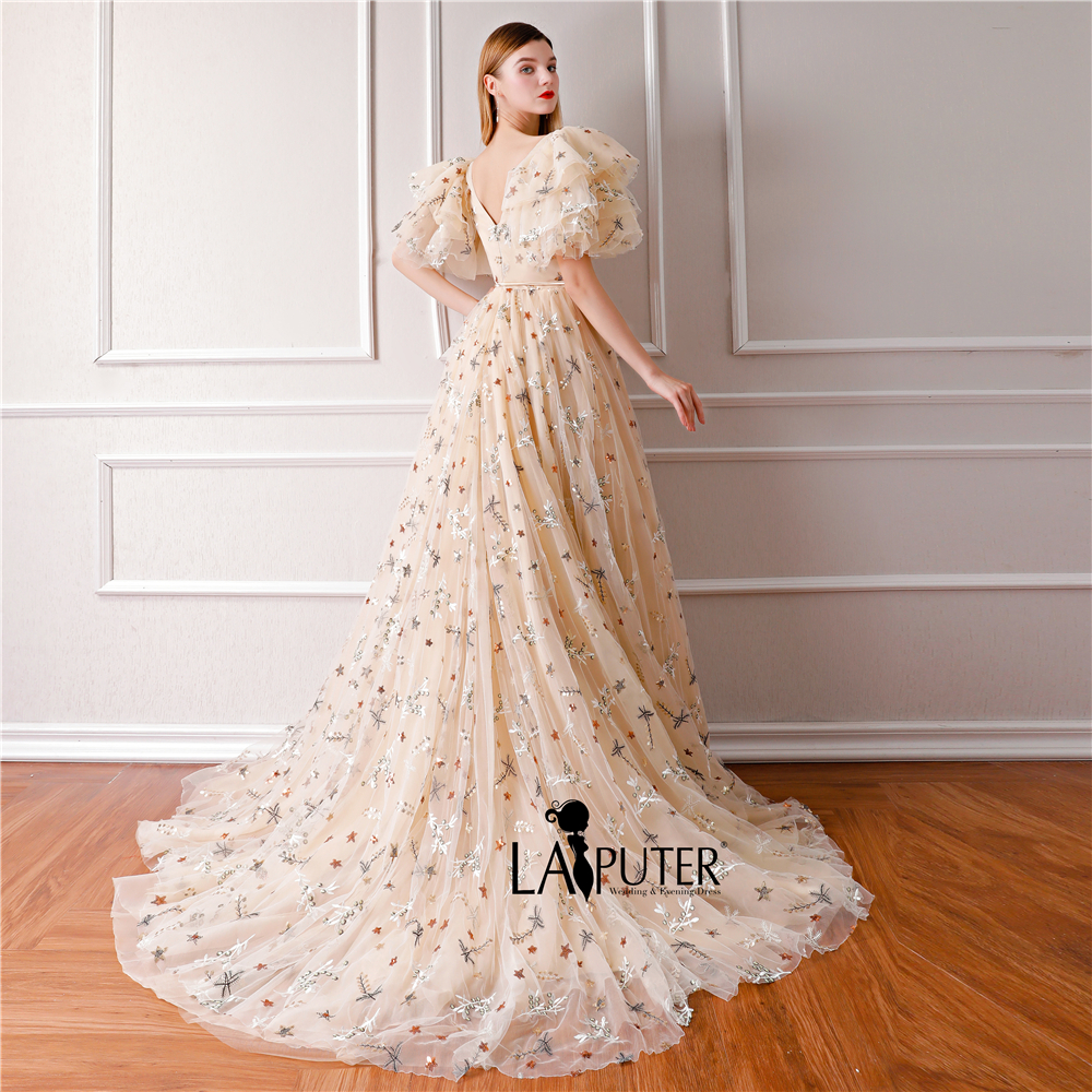 fa7422b6cf US $229.0 |LAIPUTER Vintage Evening Dresses Cap Sleeves Champagne Evening  Dress with High Split Prom Formal Gown -in Evening Dresses from Weddings &  ...