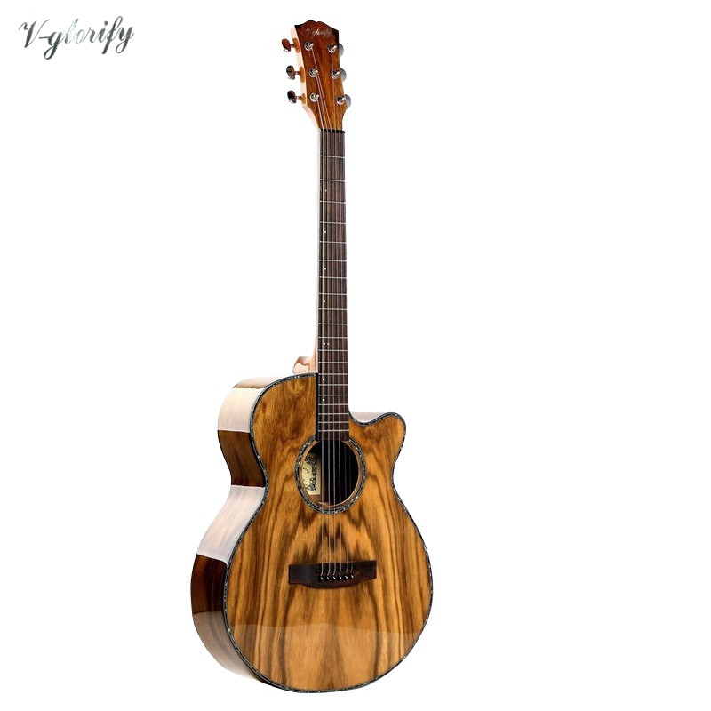 2018 high quality 40inch cutway acoustic electric guitar A shaped with Dao wood top