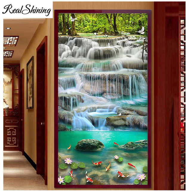 d3ed0558cd 5D DIY Diamond Painting Vertical Chinese Design Cross Stitch Diamond  Embroidery full Square round drill Waterfall Scenery S4196