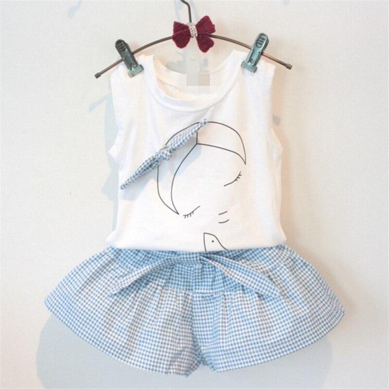 Nouveau 2018 marque été bébé fille vêtements ensembles mode coton imprimé gilet T-shirt et jupes filles vêtements costumes