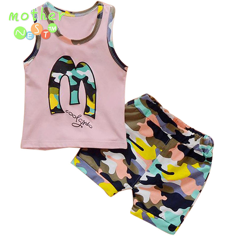 Toddler Baby Boys Tracksuits 2018 Summer Children Cartoon Sports Suits Kids Sleeveless Vest + shorts Clothes Outfit Age 0-3T