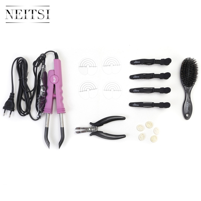Neitsi Hair Extensions Connector Pink Black Euro plug & Hair Iron Tools(Pier, Brush, U Tips, Heat Protector Shield, Hair Clips)