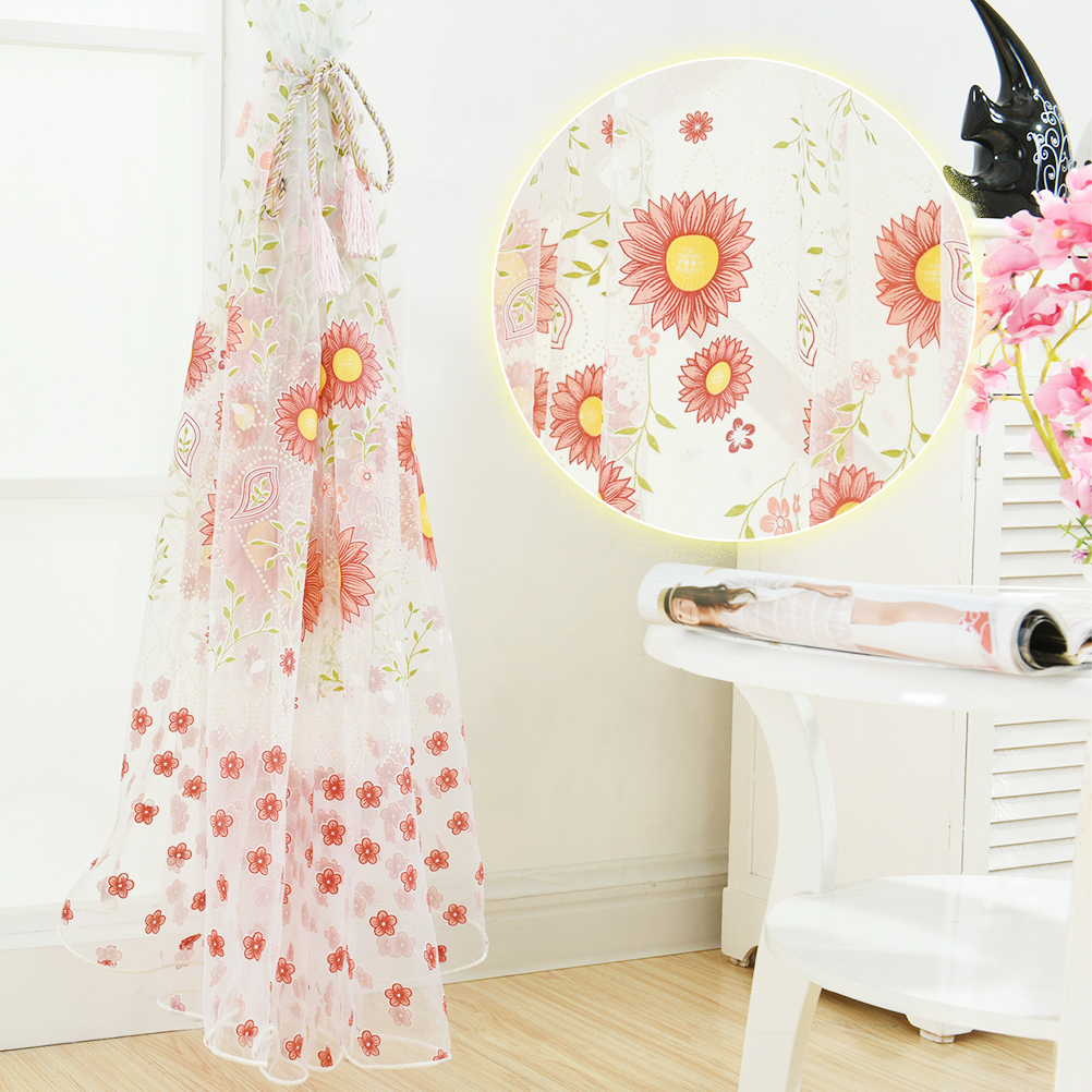 Kids modern bedroom curtains - Tulle Voile Curtains Kids 100 200 Cm Sunflower Sheer Tulle Curtains For Living Room Bedroom Modern Kitchen Window Curtains