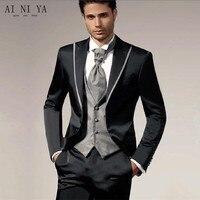 Newest Handsome Gentleman Male Suit Peaked Lapel Two Button Tie Groomsman Tuxedos Men Wedding Suits