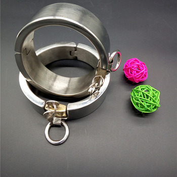 Promotional stainless steel metal handcuffs Invisible lock handcuffs for sex,fetish BDSM bondage adult sex toys for couples