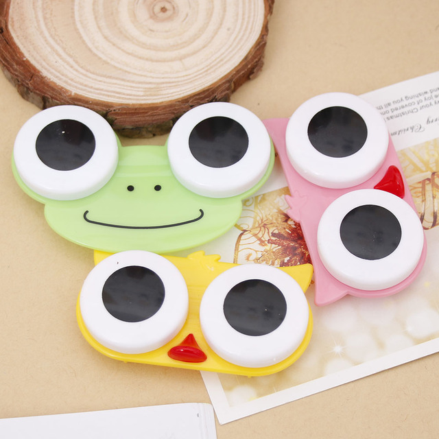 US $0 6 25% OFF  Sweet Cartoon 3D Big Eyes Contact Lenses Box & Case Owl  Frog Animal Shape Contact lens Case 1PCS-in Accessories from Apparel
