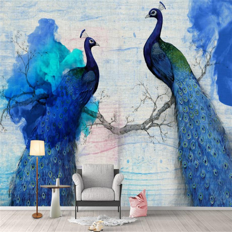 Wallpapers YOUMAN 3 d Wall Murals Blue Wallpaper Wall Pictures Custom Living Room Decor Luxury Animal Wallpaper Peacock Mural large wall murals wallpaper for living room wall decor modern mural custom size mural de parede 3d wall murals nature red leaves
