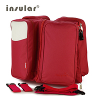 Insular Outdoor Folding Bed Mummy Baby Bag Large Space Diaper Bag 2 in 1 With Velvet Mat Waterproof Bag For Stroller