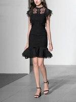 GoodliShowsi сексуальные модные женские платья с коротким рукавом Кружева Bodycon Карандаш черные платья повседневные ночной клуб элегантные плать