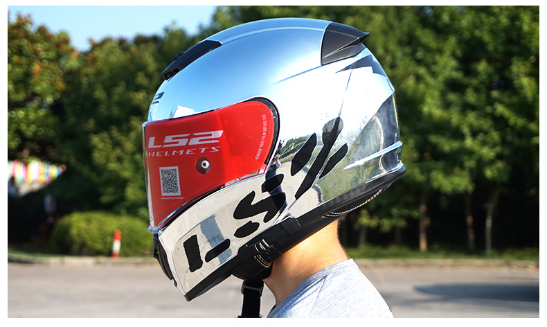 3a46cb4ff0e Details about LS2 FF390 Breaker Split Motorcycle Helmet Inner Shield Chrome Full  Face Racing