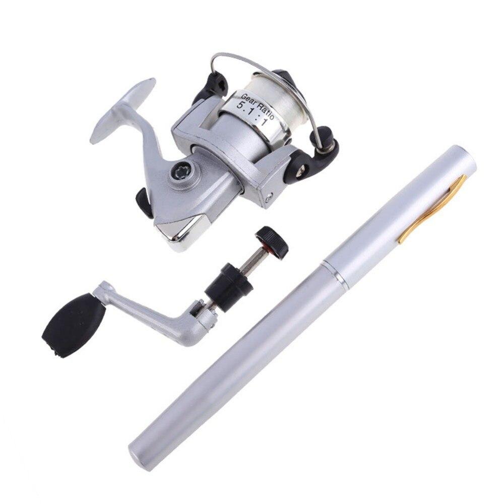Aleación De Aluminio De Mini Pocket Pen Pesca Rod Poste + Carrete Pesca Spinning