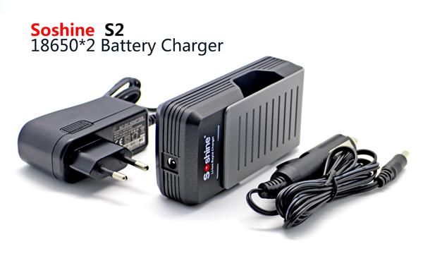 Soshine li-ion 18650 1a carregador rápido de 2 canais 3.7 v 18650 17650 carregador de bateria inteligente com dc 12 v da ue adaptador