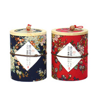 2Pcs Vintage Storage Box Chinese Vogue Floral Pastoral Wood Paper Tank Round Sealed Cans Coffee Tea