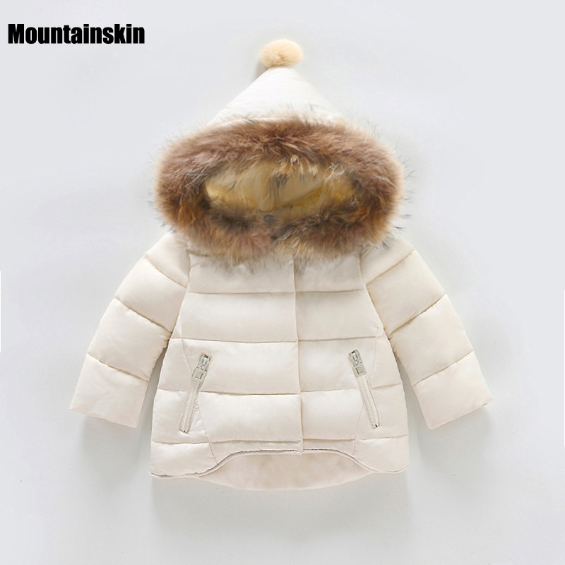 New Girls Winter Jackets Kids Hooded Coats Thick 1 7Y Children s Warm Parkas Baby Brand