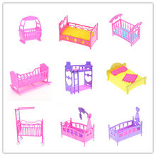 One Piece Plastic Double Bed Frame Pillow Sleepwear Crystal Shoes For Doll Bedroom Furniture Accessories Multi Styles(China)