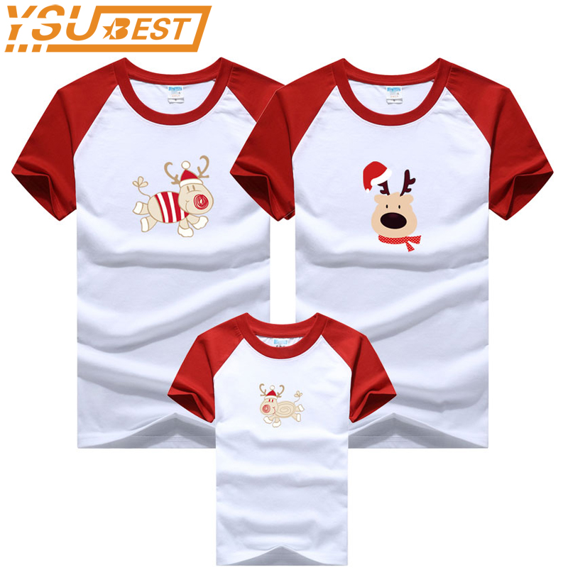 New 2018 Christmas Dag Family Look Mommy and Me Clothes Matching Family Clothing Sets Mother Daughter Father Baby Summer T-shirt цена