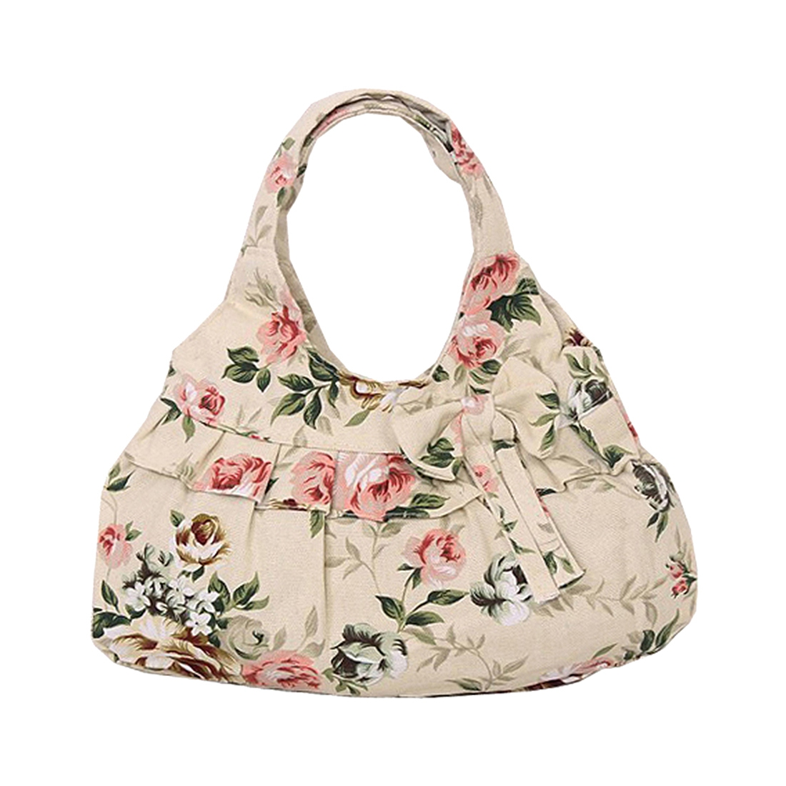2018 new hot Fashion and high quality casual Vintage Retro Style Women canvas Bow Flora printing Mini handbag(Khaki Flower) casual style print and canvas design satchel for women