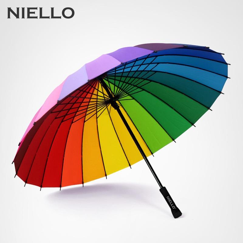 NELLO Regenbogen Regenschirm Regen Frauen Marke 24 Karat Winddicht Langen Griff Regenschirme Starken Rahmen Wasserdicht Mode Bunte Paraguas