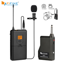 Fifine 20 Channel UHF Wireless Lavalier Lapel Microphone System with Bodypack Transmitter Lapel Mic  Receiver for camera/phones