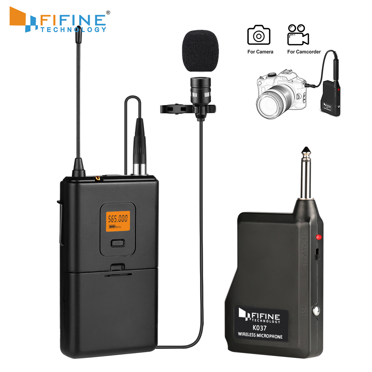 Fifine 20-Channel UHF Wireless Lavalier Lapel Microphone System with Bodypack Transmitter Lapel Mic and Portable Receiver k037