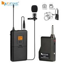 Fifine 20 channel uhf sem fio lapela lapela sistema de microfone com bodypack transmissor lapela microfone receptor para câmera/telefones