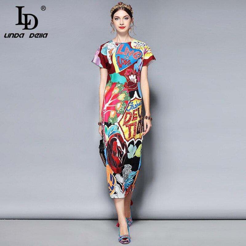 LD LINDA DELLA Мода Взлетно посадочной полосы летнее платье женская короткий рукав великолепные Кристалл Письмо бисер печатных миди элега
