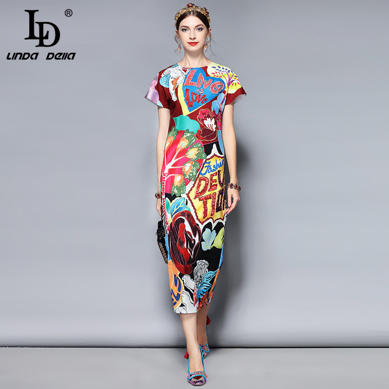 LD LINDA DELLA Fashion Runway Summer Dress Women s Short Sleeve Gorgeous Crystal Letter Beading Printed