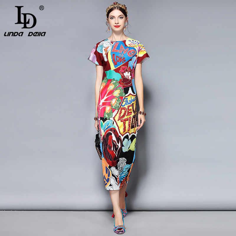 ef5cb5fe332 LD LINDA DELLA Мода Взлетно посадочной полосы летнее платье женская  короткий рукав великолепные Кристалл Письмо бисер