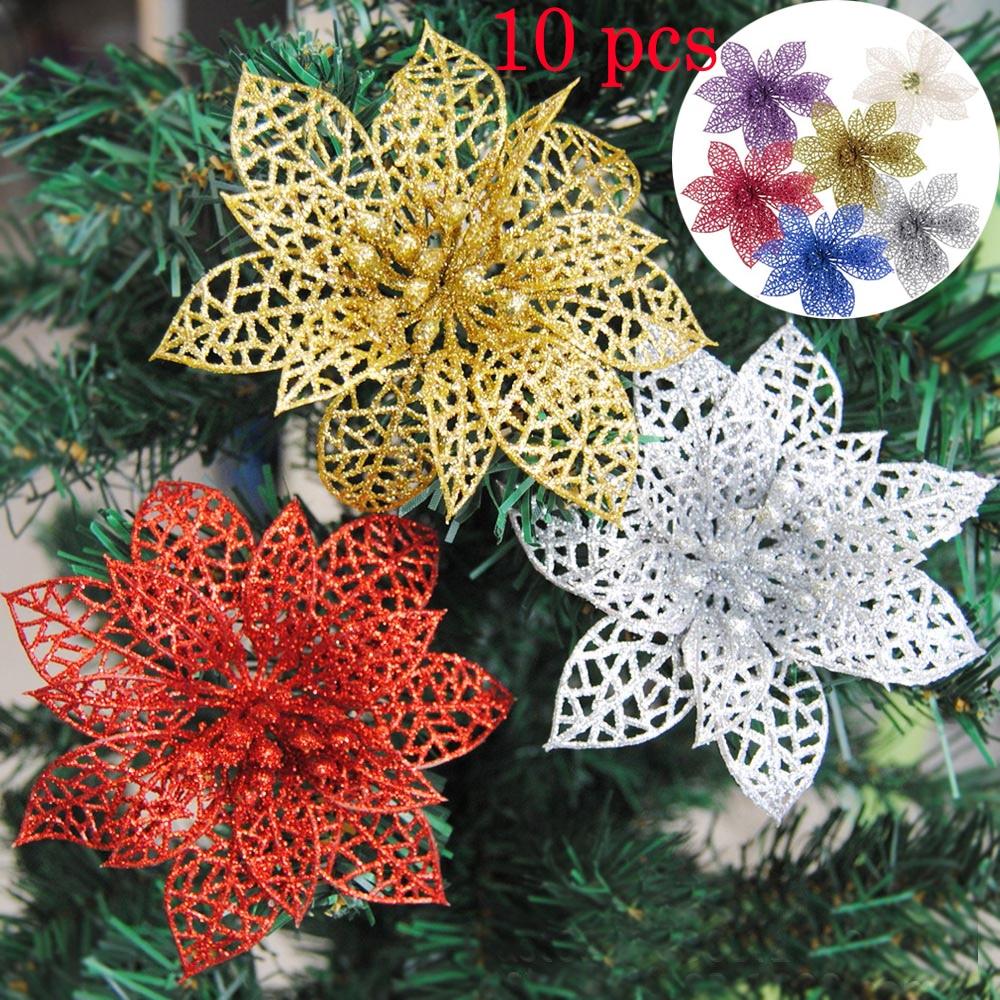 Christmas Flowers Xmas Tree Decoration Glitter Hollow Wedding Party Decor HOT