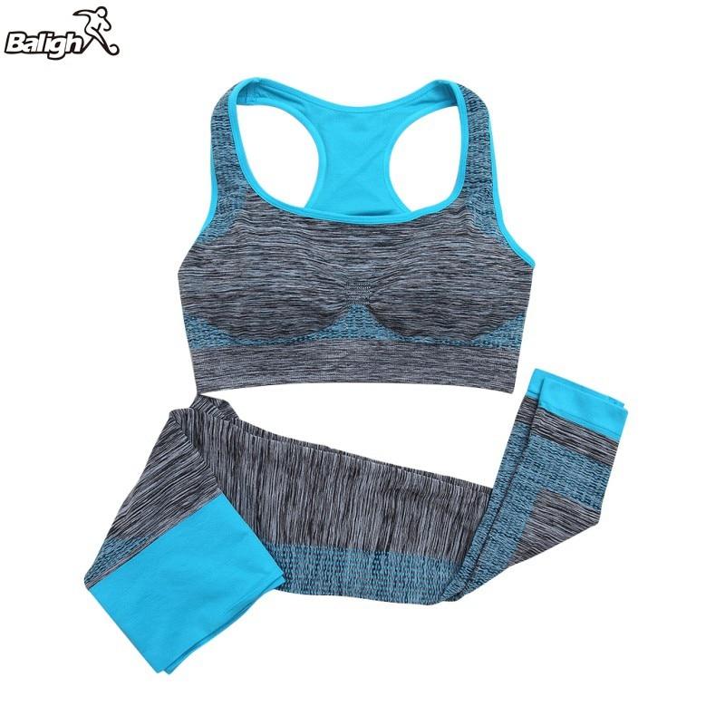 2Pcs Women Yoga Sports Sets Fitness Seamless Bra+Pants Leggings Set Gym Workout Wear