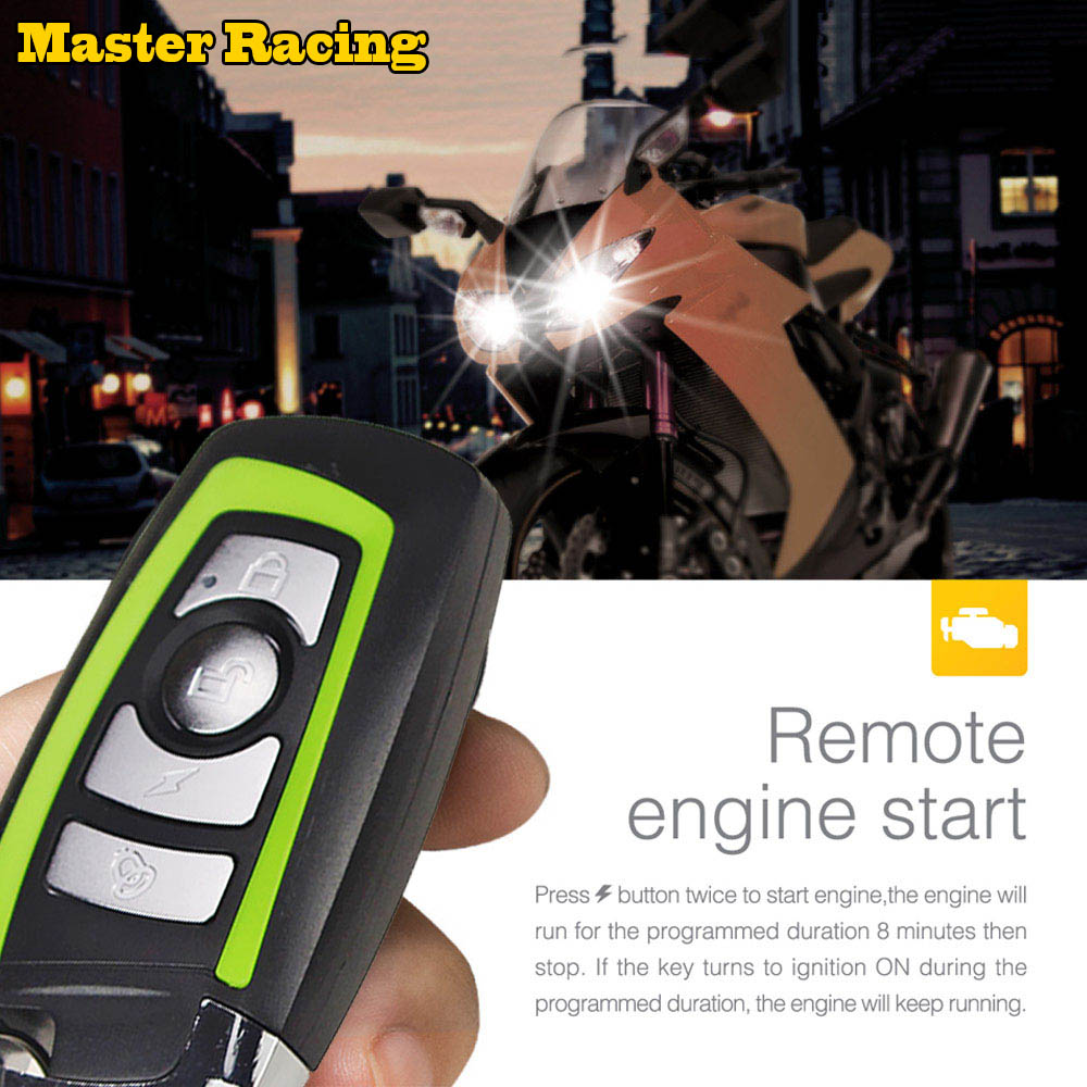 Master Racing Alarm Motorcycle Scooter Anti-theft Security Alarm System Moto Protection Remote Control Engine Start Motor Bike