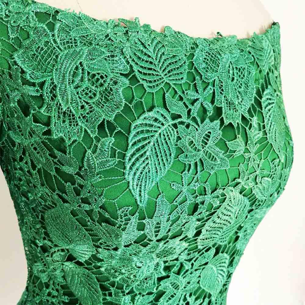 E JUE SHUNG Grønn Lace Off Shoulder Short Evening Dresses 3/4 - Spesielle anledninger kjoler - Bilde 6