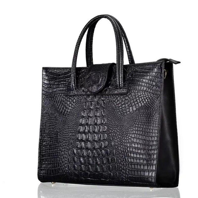 جديد أزياء العلامة التجارية عارضة النساء حقائب كتف الأسود الأحمر التمساح حقيبة يد جلدية الإناث كبيرة حقائب السيدات كيس E169-في حقائب الكتف من حقائب وأمتعة على  مجموعة 1