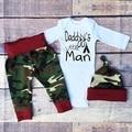 Детская Одежда мальчика Хлопок Комбинезон + камуфляжные Штаны + шляпа 3 шт. набор Комплект Одежды Младенца Новорожденных детская Одежда 7-24 Месяцев Набор JY-251
