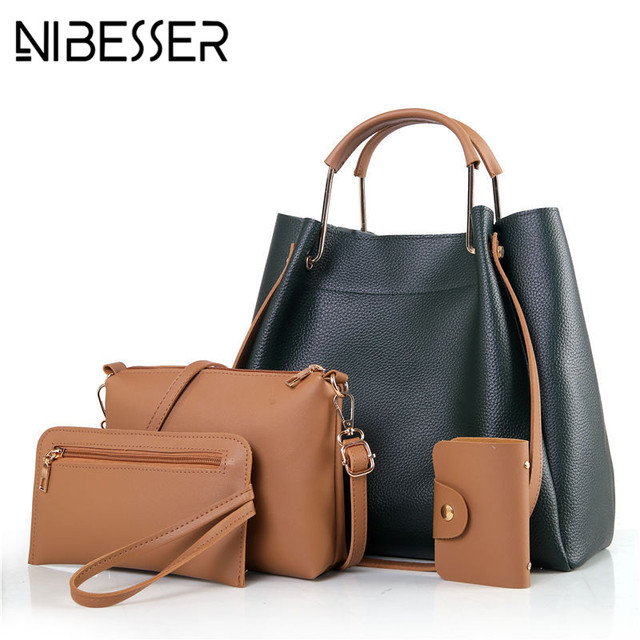 63057fe1a3 NIBESSER Fashion Women Bucket Bags 4 Pieces Casual Tote Female Bolsa Women  Messenger Bags Handbag Set