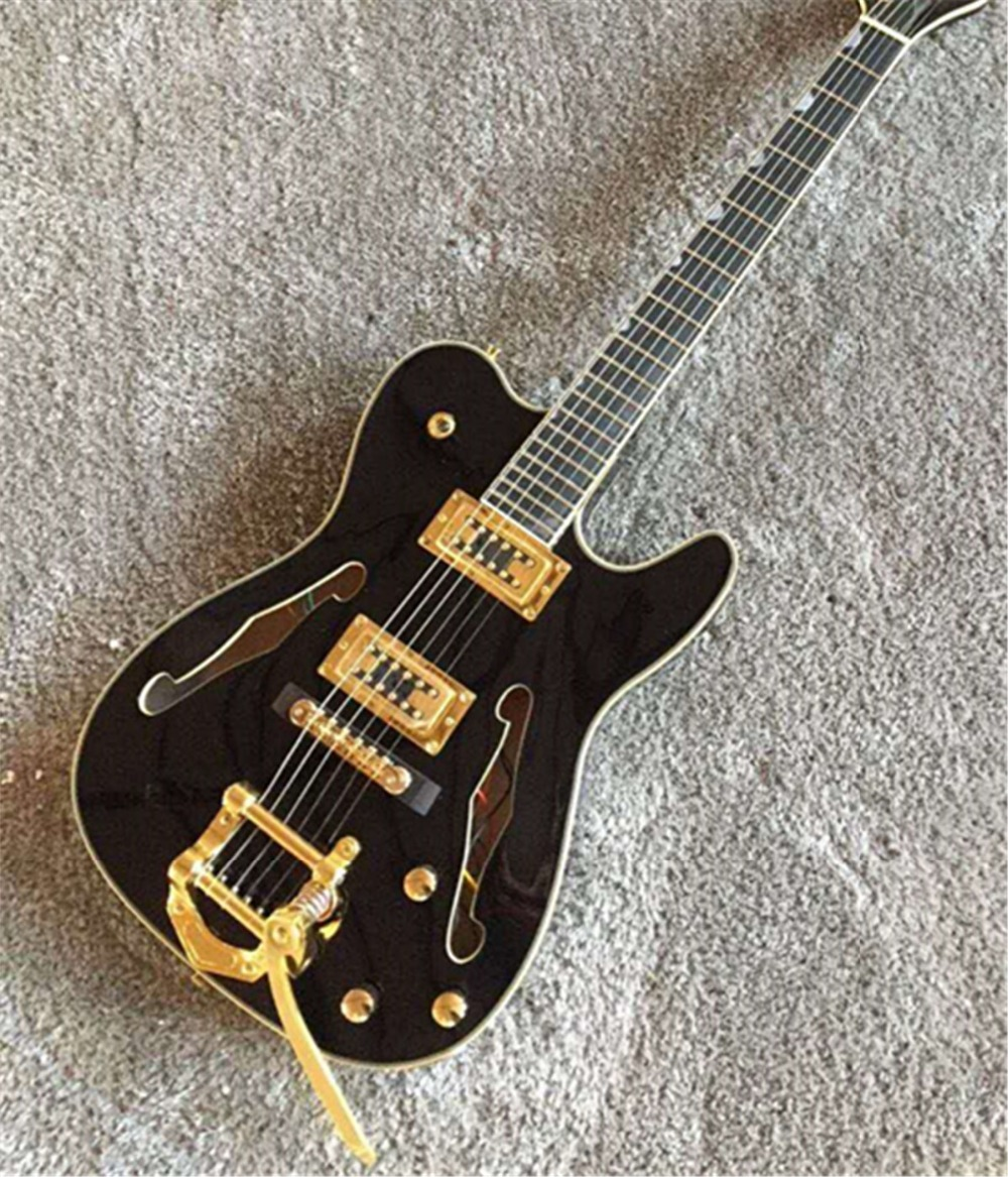 Fire Eagle chaud double F trou guitare électrique personnalisé creux corps guitare électrique, ébène carton, accessoires en or, usine dire