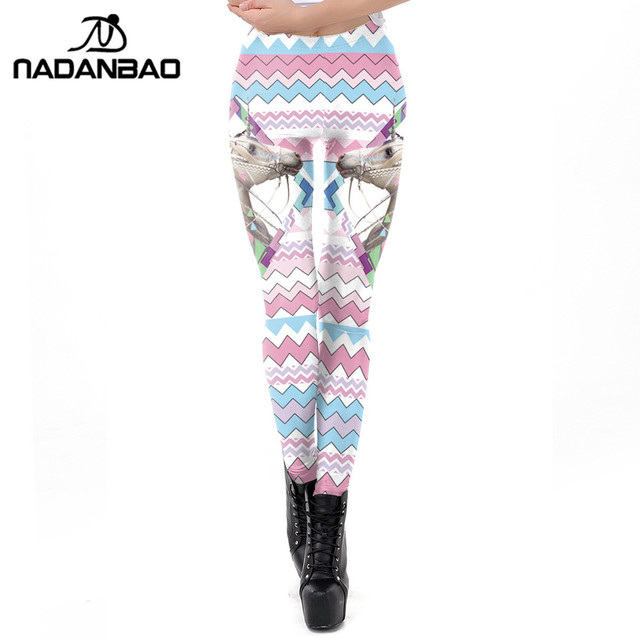 2ba44807817986 NADANBAO 2019 Spring Pink Ripple Leggings Women 3D Unicorn Printed Workout  Legging Flexible Fitness Leggins Puls Size Legins