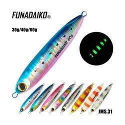 FUNADAIKO Metal Slow Jig Cast Spoon 10G 15G 20G Artificial Bait Shore Fishing Jigging Lead Metal Bass Fishing Lure jigging lure