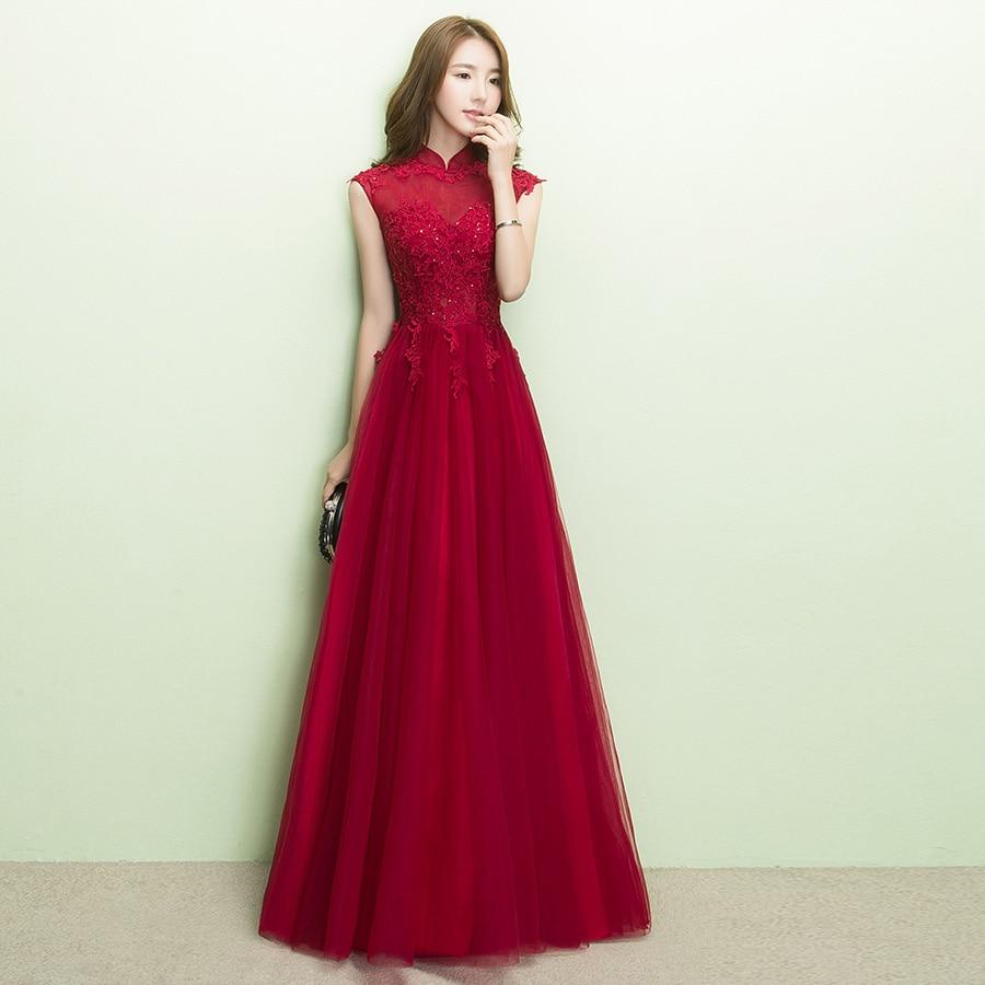 Robe demoiselle d'honneur 2019 new lace high collar bead A line burgundy   bridesmaid     dresses   long plus size   bridesmaid     dresses