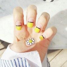 Simple 24 pcs/set Sun flower French Black line design short size finished false nail,Square head full Nails tips,lady tool bride