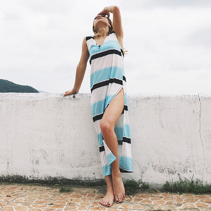 Beach Style Casual Striped Loose Long Dresses Plus Size Vestidos Mujer New Sexy Backless Split Up V neck Tank Dress Blue White in Dresses from Women 39 s Clothing