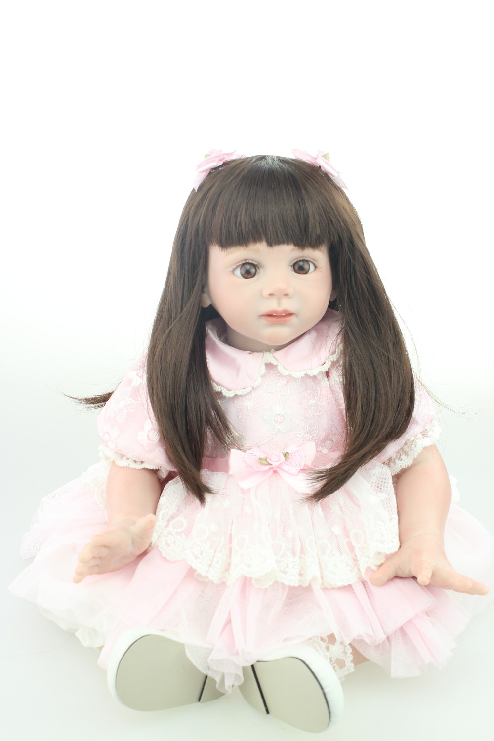 Handmade baby doll new style model 24inch Reborn Toddler baby doll Fridolin lifelike sweet girl real gentle touch new arrived 55 60cm silicone reborn baby dolls fridolin sweet girl real gentle touch rooted human hair with pink dress newyear