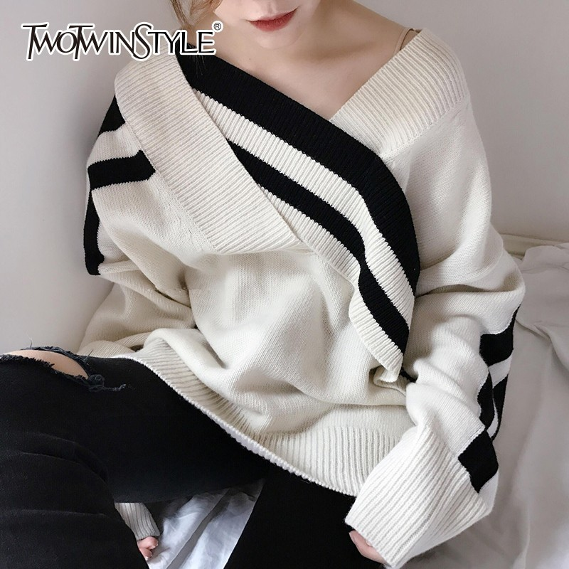 TWOTWINSTYLE Patchwork Striped Tops Female Pullovers Sweater V Neck Batwing Long Sleeve Loose Hit Color Women's Sweaters Fashion