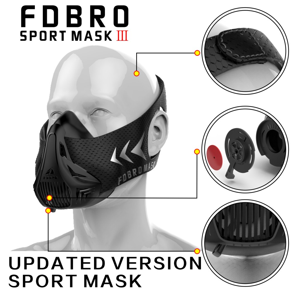 NEW FDBRO Sport Fitness Mask Packing Style Black High Altitude Training Sport Mask 2.0 And Mask 3.0 Phantom Mask FREE SHIPPING