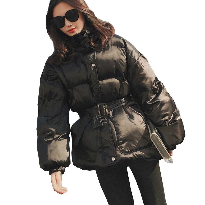 Women Winter Coats Belt Loose   Parka   Black Bubble Coat