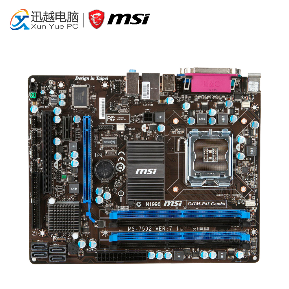 MSI G41M-P43 Combo Desktop Motherboard G41 Socket LGA 775 DDR3 8G SATA2 USB2.0 Micro-ATX