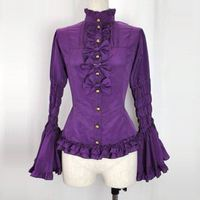 Classic 3 Color Retro Long Flare Sleeve Lolita Shirts Lace Ruffles Bow Gothic Lolita Blouses Costume For Girl Customized