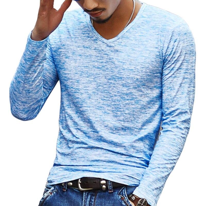 2018 NEUE Trendy Männer T-shirt Casual Langarm Dünnen männer Grundlegende Tops Tees Sommer Stretch T-shirt Herren Kleidung chemise Homme